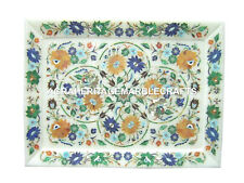 "10""x15"" White Marble Tay Pietra Dura Inlay Handmade Fruit Decor Plate Gift H1158"