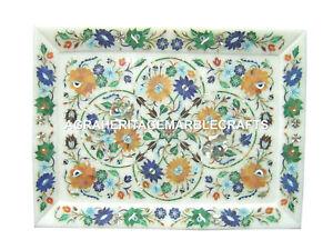 "10""x15"" White Marble Tay Pietra Dura Inlay Handmade Fruit Decor Plate Gift H1158"