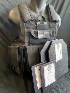 Black Tactical Vest Plate carrier w/ 2 Curved 10x12 Plates & Side Plates