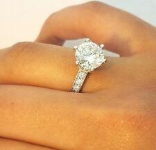 14K Solid White Gold Solitaire Engagement Wedding Ring 3 Ct Round Cut Diamond