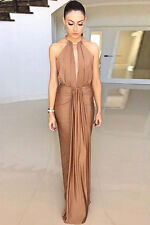 STUNNING CAMEL SILK GOLD RING JEWEL HALTERNECK BACKLESS EVENING MAXI DRESS 10/12