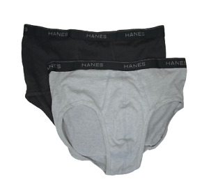 Men Hanes Briefs - 2 Pack - Black & Grey - Size 2XL - NEW