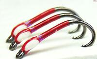 3 X Red buzzers with UV neck white painted cheeks size 12 Trout Fishing Buzzers