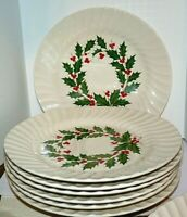 "Scio Dinner Plates White Swirl Red Green 10"" 7 Available MCM Holly Design"