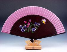 Beautiful Flowers & Butterfly Folding Fan Hand Fan Wall Decor w/ STAND #06231609