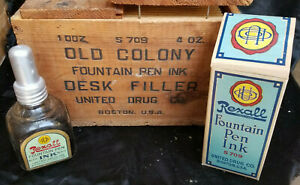 Antique Rexall Fountain Pen Ink Bottle with Box And Wooden Shipping Box