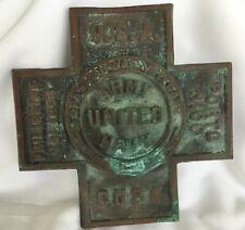 Orig Brass 1898 - 1902 Army United Navy Spanish American War Cross Grave Marker