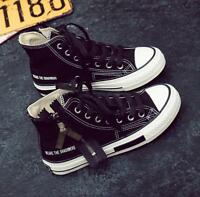 Women Black Lace up Zipper Canvas Fashion Shoes High Top Sneaker Round Toe Sz
