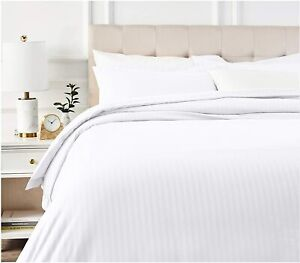 Luxury 100% Cotton Stripe Duvet Covet Quilt Cover With Pillow 300 Thread Count