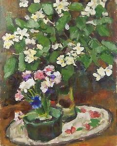 Vintage Floral Still Life - Original Oil Painting Flowers, Soviet Artist Volskiy