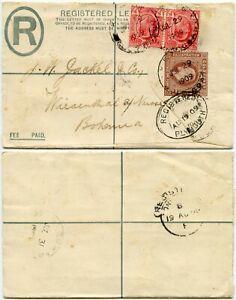 GOLD COAST 1909 REGISTERED STATIONERY KPONG to BOHEMIA via PLYMOUTH