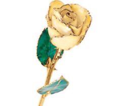 24K Yellow Gold Dipped Lacquered Rose Lemon Cream Yellow Real Long Stem Rose