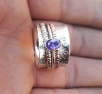 Amethyst Solid 925 Sterling Silver Spinner Meditation Statement Ring Size M408