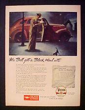 1945 WWII Veedol Motor Oil Vintage Black Hand Note~Black Cat Crosses Path Art AD