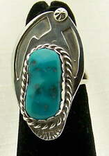 Ring by W Spencer, Size 6 Lovely Navajo Estate Blue Turquoise Sterling Silver