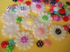 100 Satin White Daisy Flower+Polka Dot Center Fabric Applique Mix Set/Craft H368