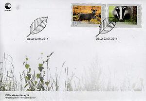 Norway 2014 FDC Wildlife in Norway VII 2v Set Cover Wild Animals Deer Badger