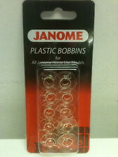 Janome (200122005) Pack of 10 Plastic Bobbins for All Janome Home Use Models - (5027843202274)