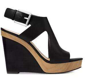 MICHAEL KORS Black Leather JOSEPHINE Wood Wedges Heels Sandals Sz 8.5