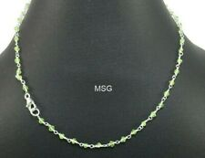 Peridot Gemstone Wire Wrapped 925 Sterling Silver Beads Necklace Jewelry SMBN116