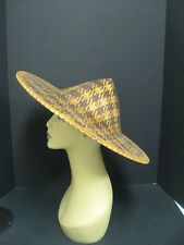 """Vintage Asian-Chinese Woven Straw Conical Rice Paddy Farmer Coolie Hat 17.5"""""""