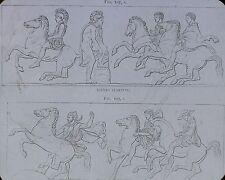 """Riders Starting"", Magic Lantern Glass Slide, (Roman Soldiers?, Drawing)"