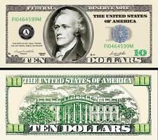 $10 Poker Play Money Ten Dollar Bill ~ Hamilton ~ Fake Funny Money Novelty Note