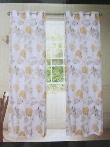"Laura Ashley Woodblock Leaves Eyelet Curtain in Steel Grey W64""× L54/"" RRP £110"