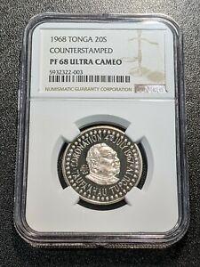 1967 1968 PF68 UC Tonga 20 Seniti Counterstamped KM 14 NGC TOP GRADE! Rare!