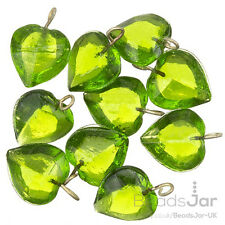 Transparent Lime Glass Heart Charm Pendants 15mm Pack of 10 (A93/10)