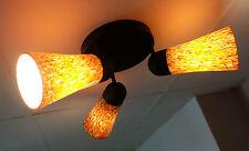 peill & putzler DECKENLAMPE mit 3 schwenkbaren glasschirmen glastüten 70er jahre