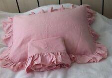 Pair standard Ralph Lauren pink chambray denim oxford shams ruffle