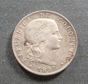 Colombia, Silver 20 Centavos, 1897, toned