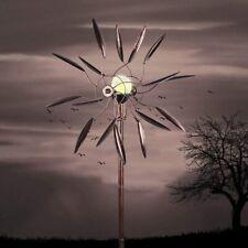Solar Metal Garden Wind Spinner Outdoor Lawn LED Light Wind Mill Art Decor