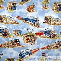 BonEful Fabric FQ Cotton Quilt Blue Cloud Sky Scenic Railroad Train Conductor US