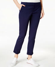 NWT Women Tommy Hilfiger Cotton Pant 16 XL Navy Slim Trouser Uniform Work Casual