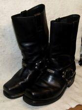 Black Leather Square Toe Motorcycle Biker Boots Oil Resistant Soles Men`s 9