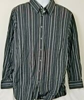 Playa Grande Men's Shirt Sz 3XLT Casual Button Down Long Sleeve Black Striped