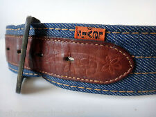 LEVI strauss vtg denim leather belt buckle orange tab 70s hippy 60s tooled 34