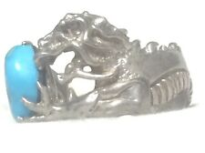 Vintage Dragon Holding Turquoise Egg Sterling Silver Women Band Ring Size 8.50