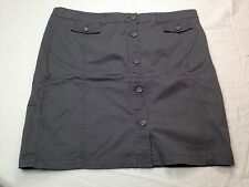 NWT New York and Company Women Gray Straight Knee Length Button Down Skirt 18