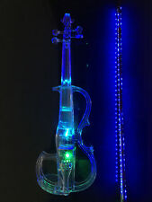 Acrylic Plexiglass Electronic Violin Seven-color LED Lights with Blue LED Bow