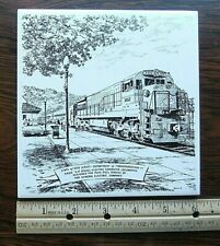 "NJDOT LOCOMOTIVE BY GE -Signed GOULD-6"" by PILKINGTON ENGLAND-CERAMIC WALL TILE"