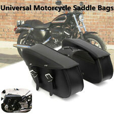 2X Universal Leather Motorcycle Saddle Tool Bag Cross Rider Panniers Luggage