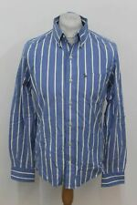 ABERCROMBIE AND FITCH Men's Blue Cotton Casual Shirt Yellow White Stripe Small