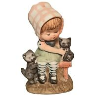 Vintage Rust Craft Porcelain Girl Sitting with Cats On Bench Shelf Sitter Decor