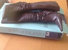 Women's River Island Brown Leather Knee Length Boots Size 6