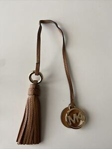 Michael Kors Brown Leather Tassel Key Fob Bag Charm
