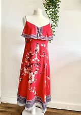 MONSOON Dress Size 12 PINK FLORAL | SMART Occasion WEDDING Cruise PARROT