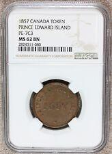 1857 Canada Prince Edward Island Free Trade Token PE-7C3 - NGC MS 62 BN